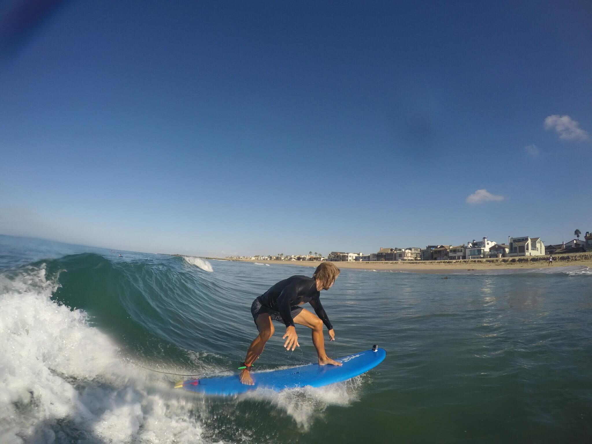 Surf lesson in Newport Beach.