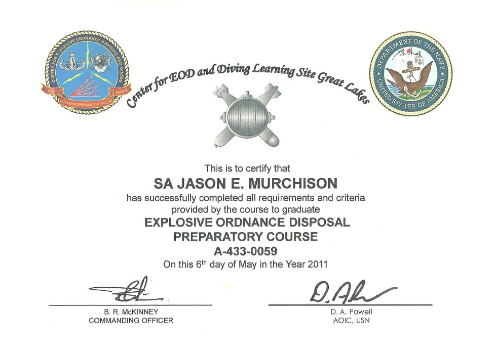 Preparatory Dive School Certification